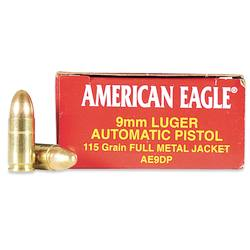 Federal American Eagle 9mm, 115gr FMJ, 50 Rounds - Ammo