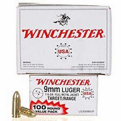 Winchester USA 9mm, 115gr FMJ, 1000 Round Bulk Ammo